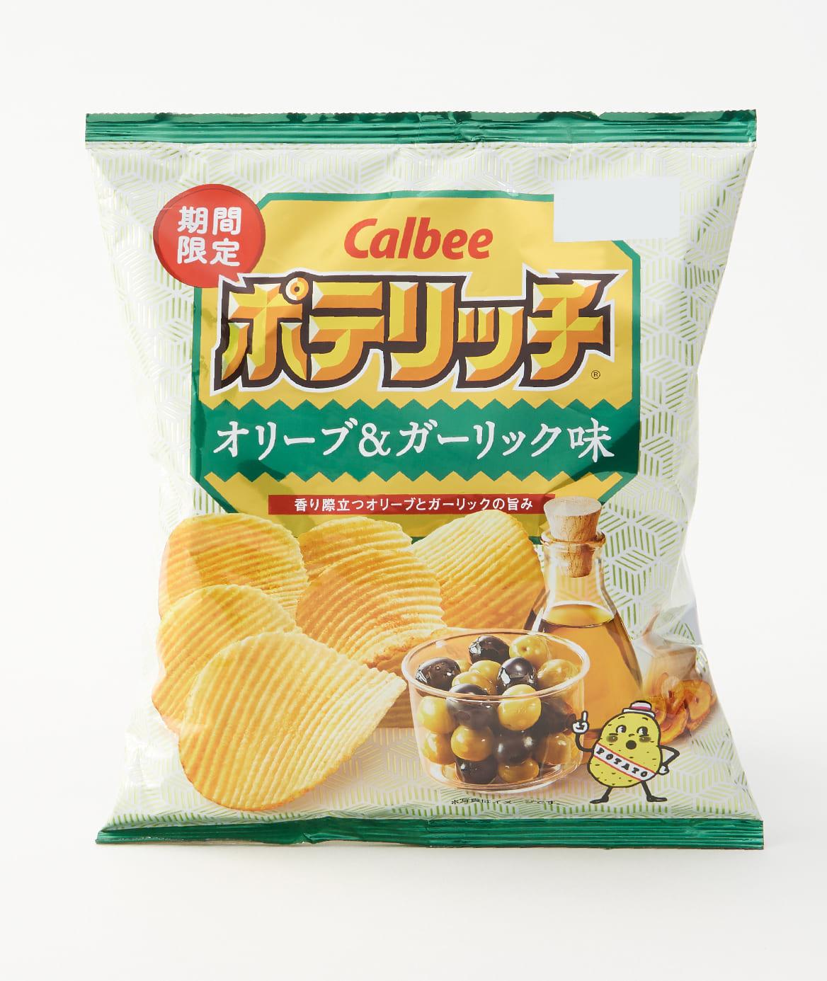 カルビー-ポテリッチオリーブ&ガーリック味のパッケージ